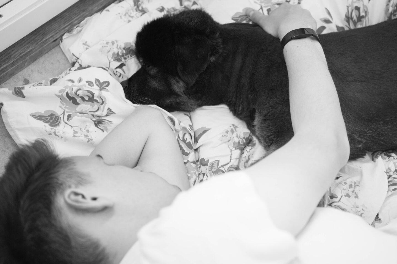 Mitt livs värsta beslut. Sambon ligger och sover på golvet med Bonzo.