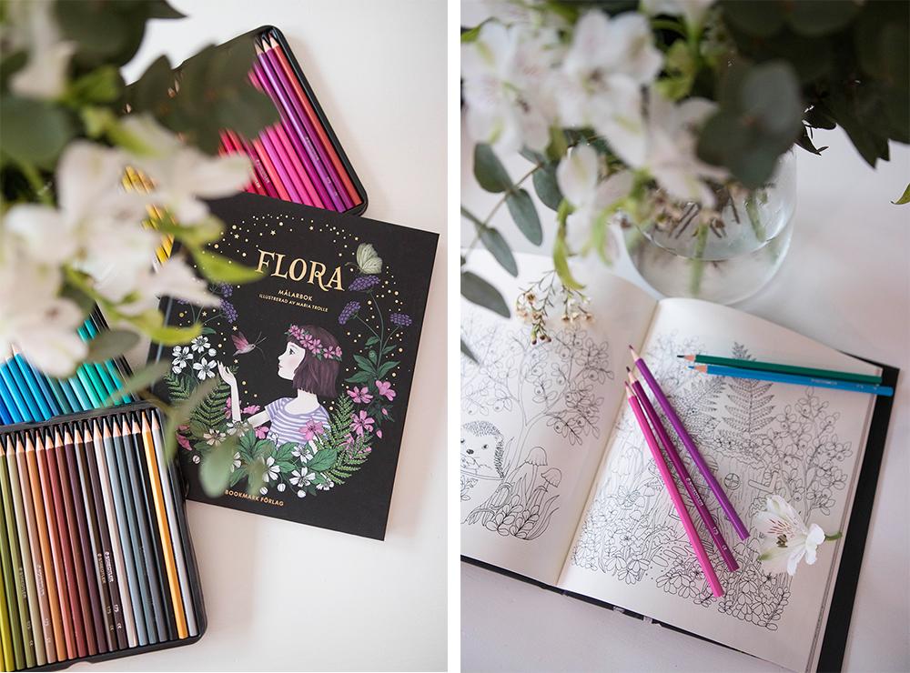 Målarbok Flora av Maria Trolle och pennor från