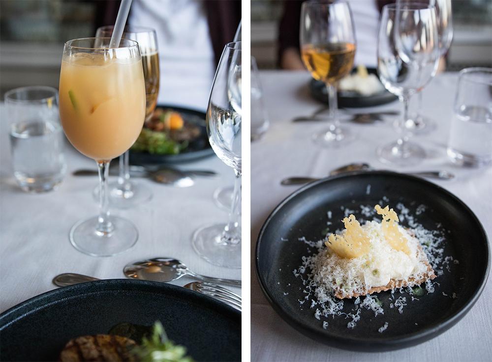 5 rätters middag på Alberts. Alkoholfri äppeldrink tillsammans med Wrångebäcksost som mousse med potatisknäcke & riven Almnäs tegel