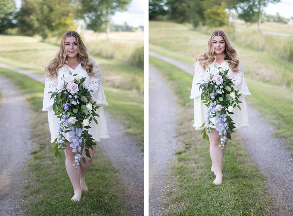 Min sommar 2021. Floristutbildning, droppformad bröllopsbukett