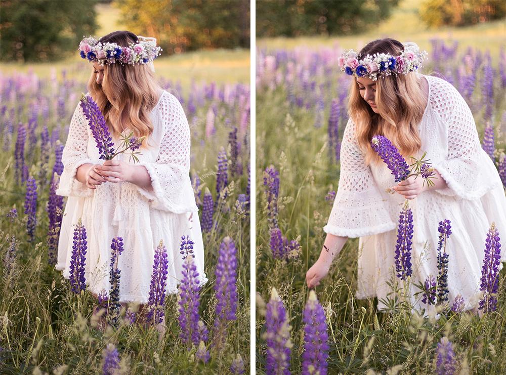 svensk midsommar, vit klänning by malina midsommarkrans i håret av svenska sommarblommor